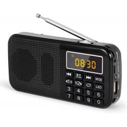 Радио MP3-плейър с USB. micro SD, FM радио, часовник, аларма и фенерче