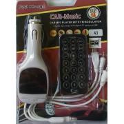 FM mp3 трансмитер с кабели за зареждане на телефони LCD, USB, AUX, microSD